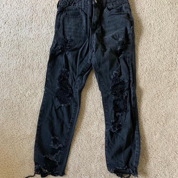 Fashion Nova Denim - Black Distressed Boyfriend Jeans